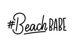 Beach babe lettering quote with hashtag. Summer inspirational qu. Ote. Summer t-shirts print,sign, invitation, poster Stock Images