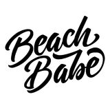 Beach babe lettering quote isolated on white background. Summer stock illustration