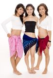 Beach Babes #15. Three cute asian women in beach wear - full length shot stock photography