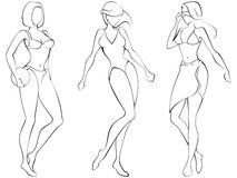 Beach Babes. Sketch of three women in beach-wear. Graphics are grouped and in several layers for easy editing. The file can be scaled to any size Stock Images