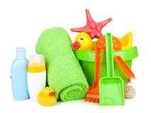 Beach Baby Toys, Towels And Bottles Royalty Free Stock Image