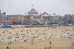 The beach with a backdrop of the Kurhaus in Scheveningen Royalty Free Stock Photos