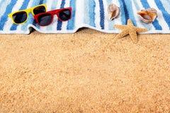 Beach background summer border sunglasses copy space Stock Image