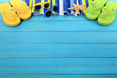 Free Beach Background Border Summer Flip Flops Sunglasses Copy Space Royalty Free Stock Image - 53197156