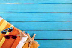 Beach background border, sunglasses, deck, copy space Stock Image