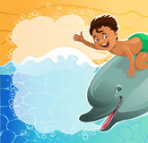 Beach background. Cartoon. A boy riding a dolphin with speech bubbles happily waving at the beach background. The file is saved in the version AI10 EPS. This stock illustration