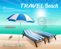 Beach background with chair and umbrella on sand Stock Images