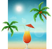 Beach background with cocktail and palms Stock Photo