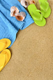 Summer beach background flip flops sand copy space vertical Royalty Free Stock Image
