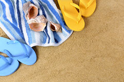 Summer beach border background flip flops copy space Stock Photos