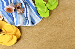 Summer beach background flip flops copy space Stock Images