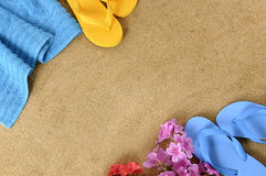 Summer beach background border flip flops copy space Royalty Free Stock Image