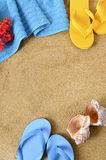 Summer beach background border sand copy space Stock Photos