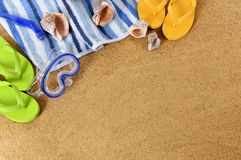 Summer beach background  border flip flops copy space Royalty Free Stock Images
