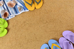 Beach background frame flip flops copy space Royalty Free Stock Photo
