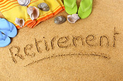 Retirement planning beach vacation concept Stock Photography
