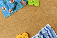 Summer beach background frame flip flops copy space Stock Images
