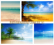 Beach background geometric set. All on different layers for easy using. Vector illustration Stock Photos