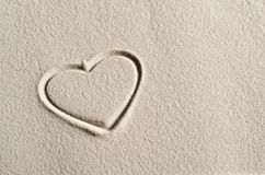 Beach background with hearts. Drawing stock photo