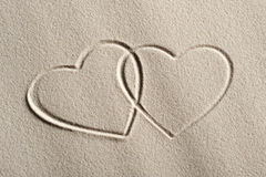 Beach background with hearts. Drawing royalty free stock photo