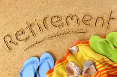 Retirement plan freedom beach vacation concept Stock Images