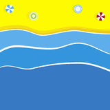 Beach Background Illustration. Summer beach illustration with colourful umbrellas Stock Photo