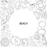 Beach background from line icon. Linear vector pattern Stock Image