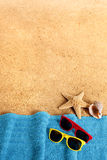 Beach background, lower border, sunbathing, sunglasses, copy space, vertical Stock Photography