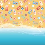 Beach background with ocean, sand and people pattern Royalty Free Stock Image