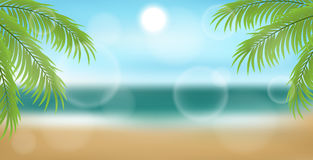 Beach background with palm tree leaves and sea. Beach banner background with palm tree leaves in front and seashore, sand and sun in back. For summer and holiday Royalty Free Stock Images