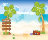 Beach background with palms Stock Photo