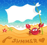 Beach background. Beach sand and sea Background. The file is saved in the version AI10 EPS. This image contains transparency. Funny crab holds a flag as a speech stock illustration