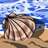 Beach background with seashell Stock Images