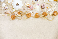 Beach background. Beach  background with shells and fisher net Stock Image
