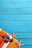 Beach background summer border wood deck copy space Stock Images