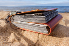 Beach background in summer with photo album Stock Image