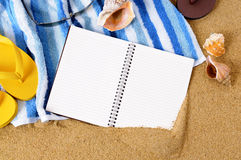 Beach travel background writing book copy space Royalty Free Stock Photo