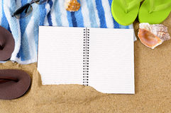 Beach background writing book copy space Royalty Free Stock Photo