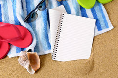 Summer beach background writing book copy space Stock Image