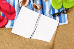 Summer vacation beach background writing book diary copy space Stock Photography