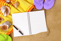 Beach background writing book copy space Stock Photo