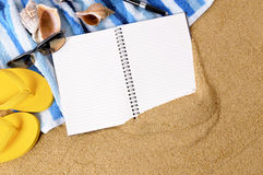 Beach background writing book copy space Royalty Free Stock Images