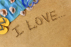 Summer beach love message. Summer beach vacation love message sand writing Royalty Free Stock Photography