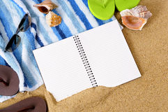 Summer beach background writing book copy space Stock Photos