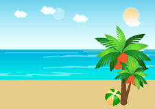 Beach Background. Vector illustration of a beach background at the summer time with a tropical tree and a ball Royalty Free Stock Images
