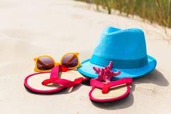 Beach background view top gadgets tourist Stock Photos