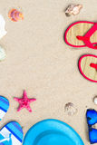 Beach background view top gadgets tourist Stock Photography