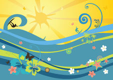 Beach background with waves. Sun, flowers and surfers Stock Photography