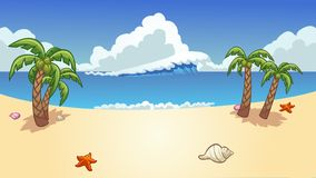 Free Beach Background With Palm Trees, Wave And Seashells Stock Photos - 167217183