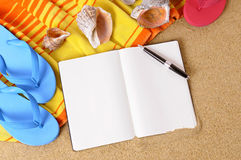 Beach background writing book copy space Stock Photography